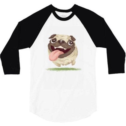 Active Pug 3/4 Sleeve Shirt Designed By Toru_sanogawa