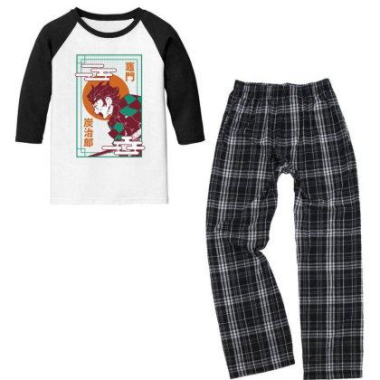 Tanjiro Demon Slayer Youth 3/4 Sleeve Pajama Set Designed By Paísdelasmáquinas