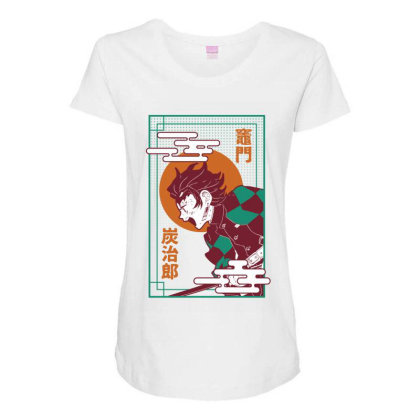 Tanjiro Demon Slayer Maternity Scoop Neck T-shirt Designed By Paísdelasmáquinas