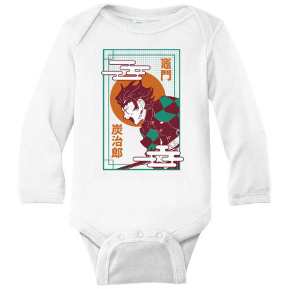 Tanjiro Demon Slayer Long Sleeve Baby Bodysuit Designed By Paísdelasmáquinas