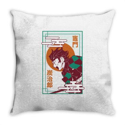 Tanjiro Demon Slayer Throw Pillow Designed By Paísdelasmáquinas