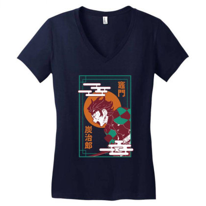 Tanjiro Demon Slayer Women's V-neck T-shirt Designed By Paísdelasmáquinas