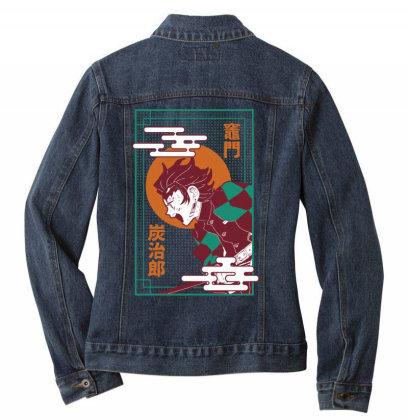Tanjiro Demon Slayer Ladies Denim Jacket Designed By Paísdelasmáquinas