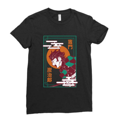Tanjiro Demon Slayer Ladies Fitted T-shirt Designed By Paísdelasmáquinas