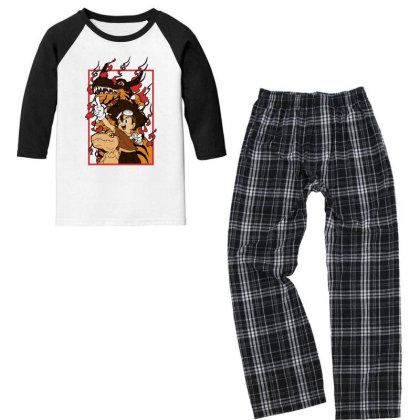 Digimon Agumon Youth 3/4 Sleeve Pajama Set Designed By Paísdelasmáquinas
