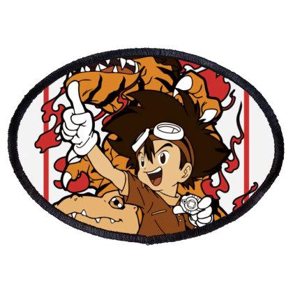 Digimon Agumon Oval Patch Designed By Paísdelasmáquinas