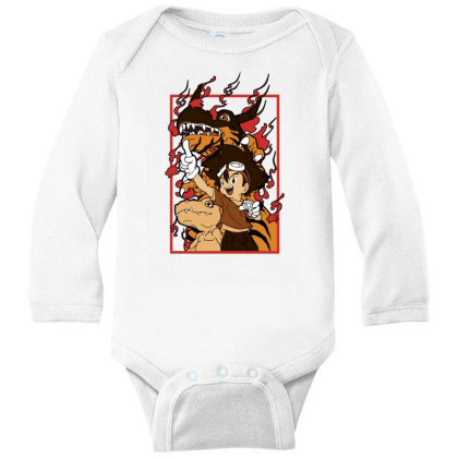 Digimon Agumon Long Sleeve Baby Bodysuit Designed By Paísdelasmáquinas