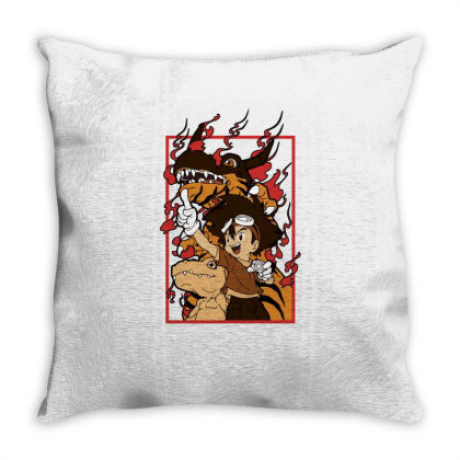 Digimon Agumon Throw Pillow Designed By Paísdelasmáquinas
