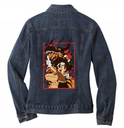 Digimon Agumon Ladies Denim Jacket Designed By Paísdelasmáquinas