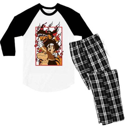 Digimon Agumon Men's 3/4 Sleeve Pajama Set Designed By Paísdelasmáquinas