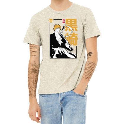 Bleach Ichigo Heather T-shirt Designed By Paísdelasmáquinas