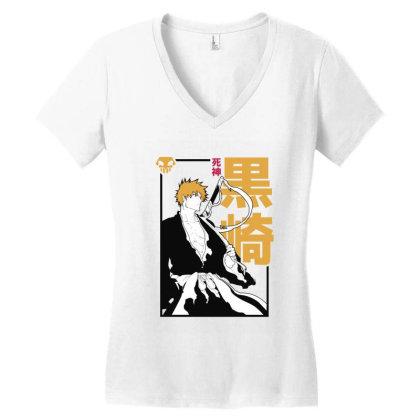 Bleach Ichigo Women's V-neck T-shirt Designed By Paísdelasmáquinas