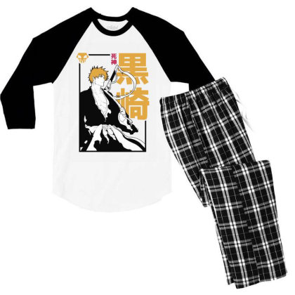 Bleach Ichigo Men's 3/4 Sleeve Pajama Set Designed By Paísdelasmáquinas