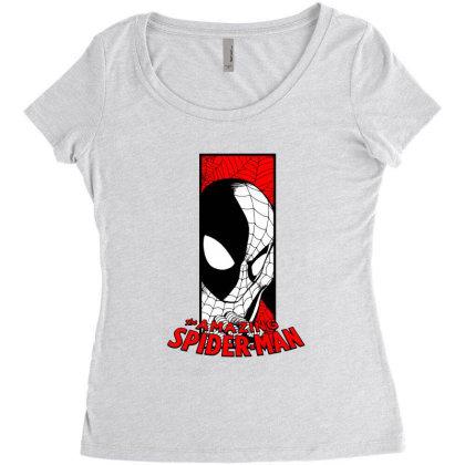 Spiderman Women's Triblend Scoop T-shirt Designed By Paísdelasmáquinas