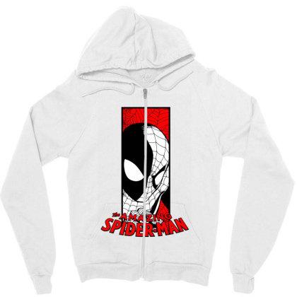 Spiderman Zipper Hoodie Designed By Paísdelasmáquinas