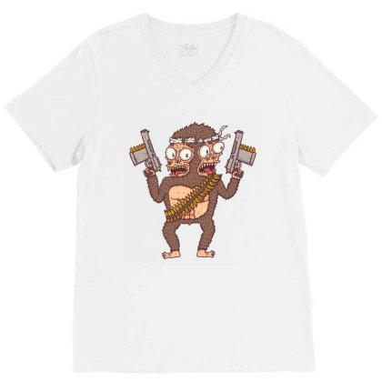 Guerilla Gorilla V-neck Tee Designed By Hexyeah