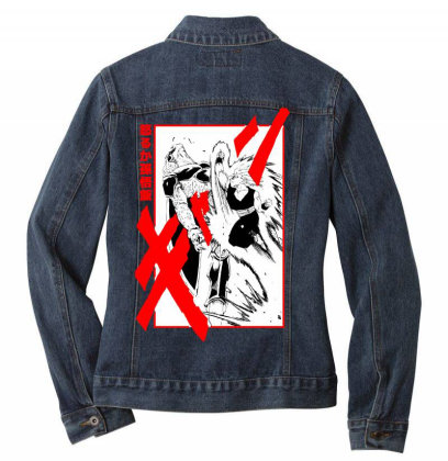 Gohan Vs Cell Ladies Denim Jacket Designed By Paísdelasmáquinas