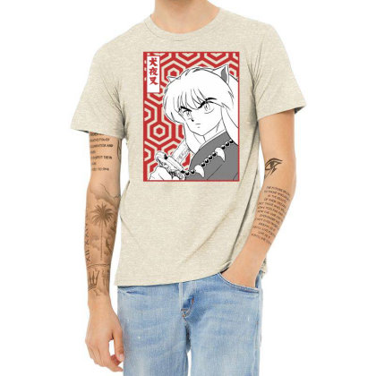 Inuyasha Heather T-shirt Designed By Paísdelasmáquinas