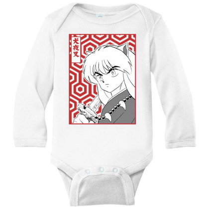 Inuyasha Long Sleeve Baby Bodysuit Designed By Paísdelasmáquinas