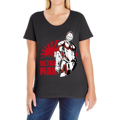 Ultraman Ladies Curvy T-shirt Designed By Paísdelasmáquinas