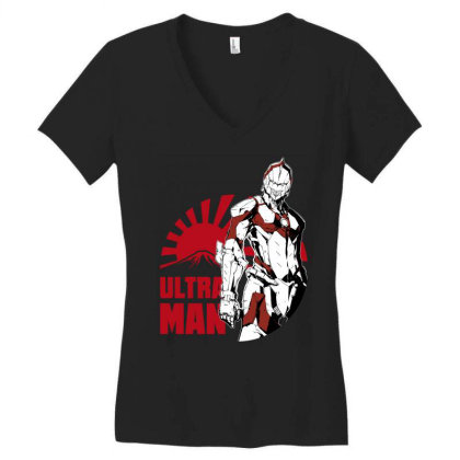 Ultraman Women's V-neck T-shirt Designed By Paísdelasmáquinas