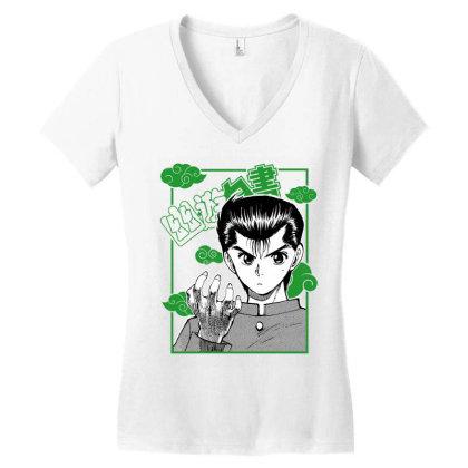 Yu Yu Hakusho Women's V-neck T-shirt Designed By Paísdelasmáquinas