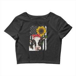 cow and sunflower american flag Crop Top | Artistshot