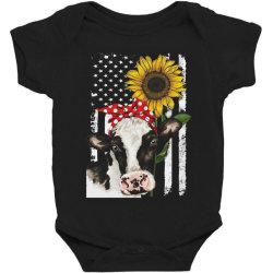 cow and sunflower american flag Baby Bodysuit | Artistshot
