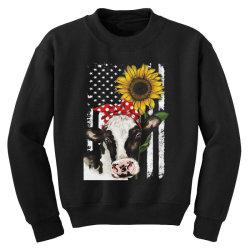 cow and sunflower american flag Youth Sweatshirt | Artistshot