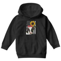 cow and sunflower american flag Youth Hoodie | Artistshot