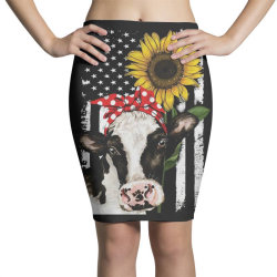 cow and sunflower american flag Pencil Skirts | Artistshot