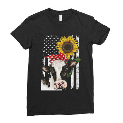 Cow And Sunflower American Flag Ladies Fitted T-shirt Designed By Kakashop