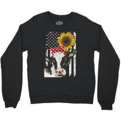 cow and sunflower american flag Crewneck Sweatshirt | Artistshot