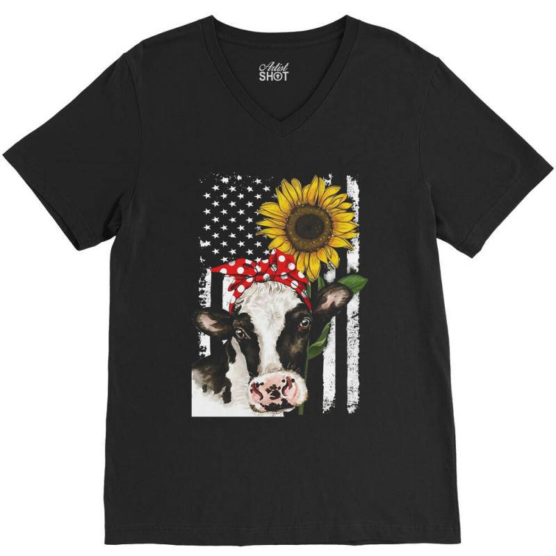 Cow And Sunflower American Flag V-neck Tee | Artistshot