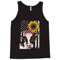 cow and sunflower american flag Tank Top | Artistshot