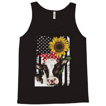 Cow And Sunflower American Flag Tank Top Designed By Kakashop