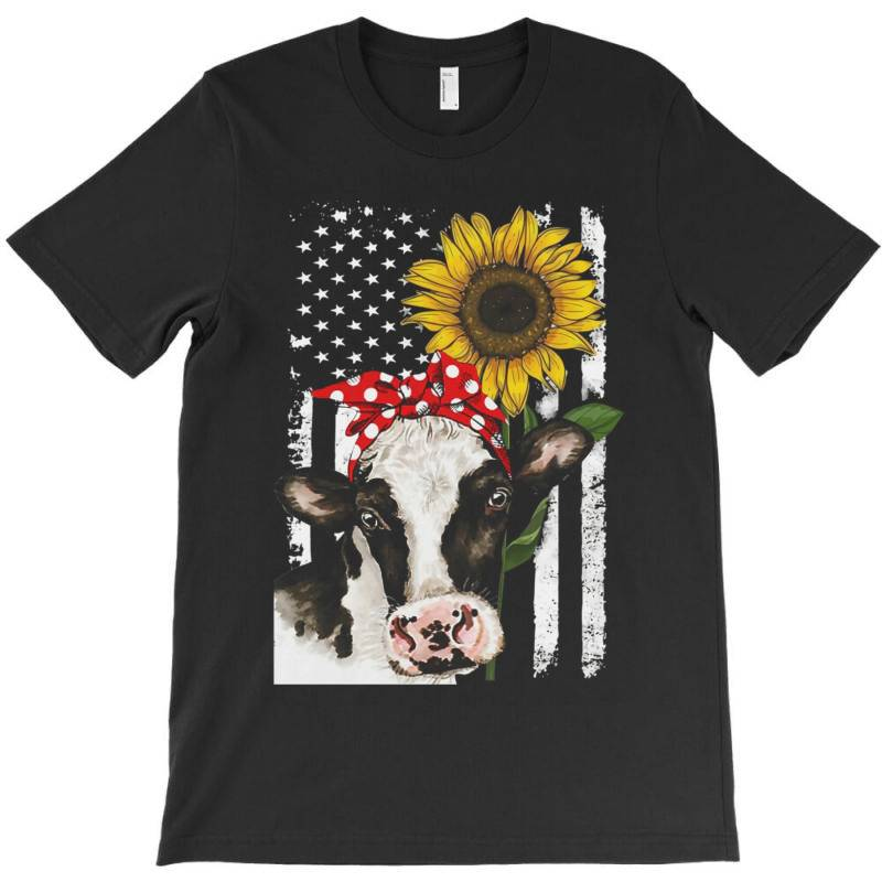 Cow And Sunflower American Flag T-shirt | Artistshot