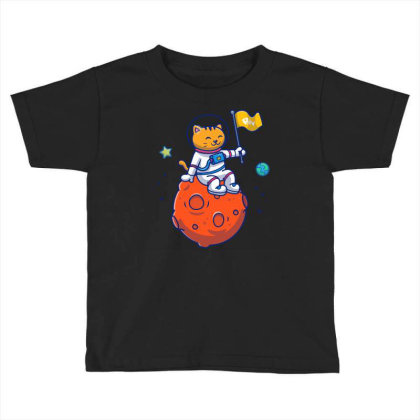 Astronaut Cat Sitting On Planet Toddler T-shirt Designed By Lenart