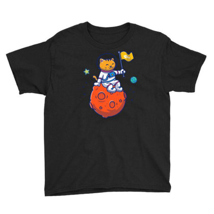 Astronaut Cat Sitting On Planet Youth Tee Designed By Lenart