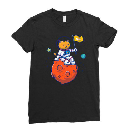 Astronaut Cat Sitting On Planet Ladies Fitted T-shirt Designed By Lenart