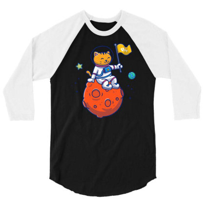 Astronaut Cat Sitting On Planet 3/4 Sleeve Shirt Designed By Lenart