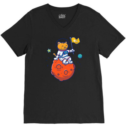 Astronaut Cat Sitting On Planet V-neck Tee Designed By Lenart