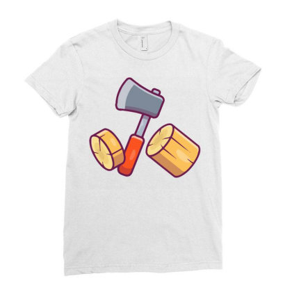 Axe And Woods Ladies Fitted T-shirt Designed By Lenart