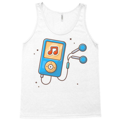 Audio Music Player With Earphone Tank Top Designed By Lenart
