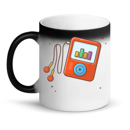 Audio Music Player With Earphone, Music Notes . Portable Media Player Magic Mug Designed By Lenart
