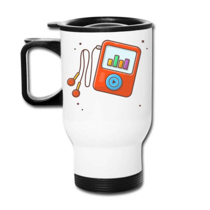 Audio Music Player With Earphone, Music Notes . Portable Media Player Travel Mug Designed By Lenart