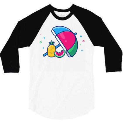 Beach Umbrella With Pineapple 3/4 Sleeve Shirt Designed By Lenart