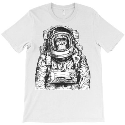 Chimpanzee Monkeys And Apes In Space Astronaut T-shirt Designed By Salmanaz