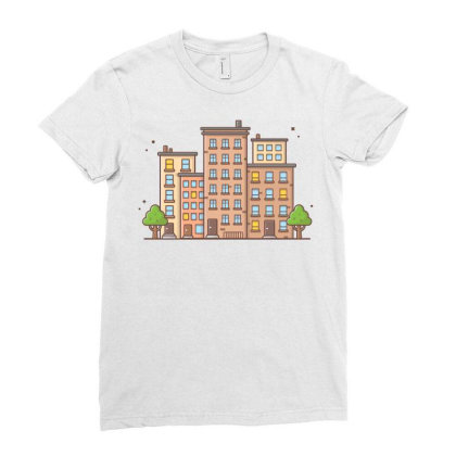 Cityscape 1 Ladies Fitted T-shirt Designed By Lenart