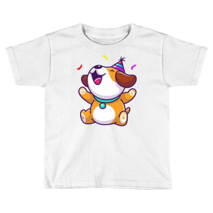 Cute Dog Birthday Party Toddler T-shirt Designed By Lenart